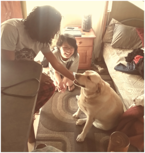 Princess and Shunying with Sammy in the Cabin. Photo Credit: Andrea Capere