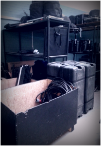 Boxes of gear oragized according to type. Shooting in Namibia and need light? Here's your place! Photo Credit: Andrea Capere