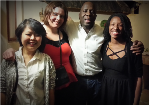 All of us, dressed for a night out. Left to right: Shunying Wang, Andrea Capere, Edwin Tijramba, Princess Reese. Photo Credit: Joanne Lisosky