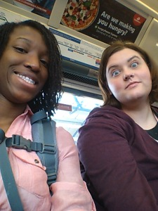 "Princess and Andrea on the London Underground, also known as ""the Tube"". First lesson in vocab."